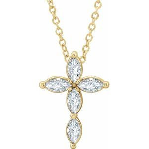 14K Yellow Diamond Cross Necklace