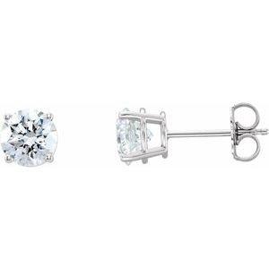 14K White Lab-Grown Diamond Stud Earrings