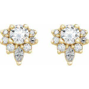 14K Yellow 1/2 CTW Diamond Earrings