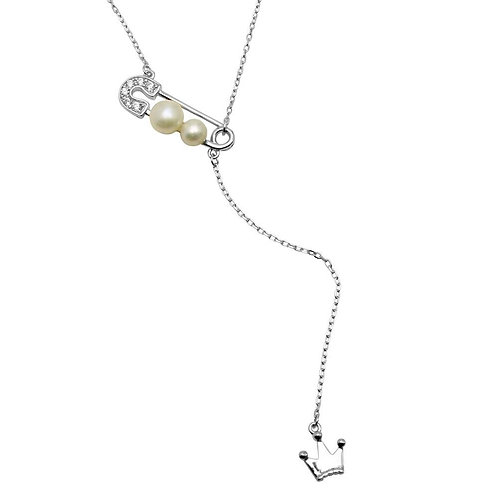 Freshwater Pearl on Pin CZ Dropped Crown Sterling Silver Necklace
