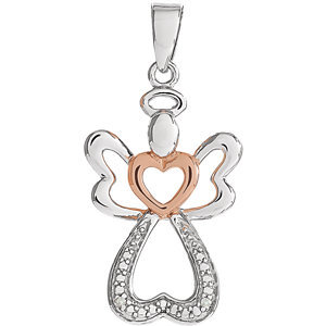 Sterling Silver &  14K Rose Gold Vermeil 28x12.6 mm Diamond Angel Pendant