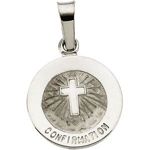 14K White 12 mm Confirmation Medal with Cross