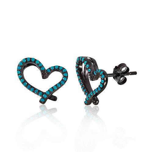 Open Heart Synthetic Turquoise Sterling Silver Stud Earrings