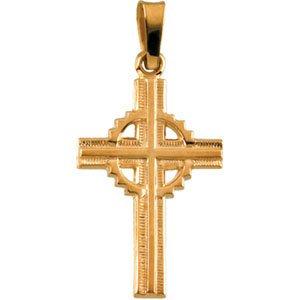 14k Yellow 19x13 mm Fancy Celtic-Inspired Cross Pendant
