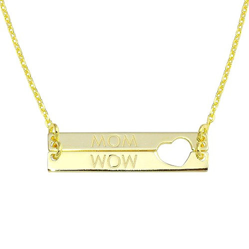 925 Gold Plated Bar Open Heart MOM Necklace