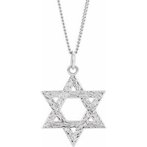"""Sterling Silver  25.25x22.75 mm Star of David 18"""" Necklace"""