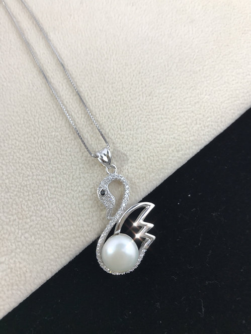White Freshwater Pearl Cubic Zirconia Swan Necklace