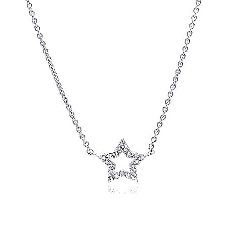 925 Clear CZ Rhodium Plated Star Pendant Necklace