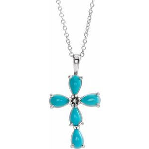 """Sterling Silver Cabochon Turquoise Cross 16-18"""" Necklace"""