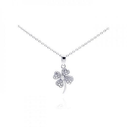Sterling Siver Clover CZ Pendant