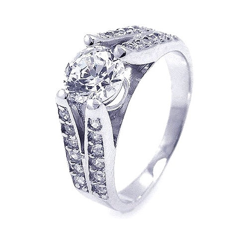 925 Rhodium Plated Clear Pave Set Round Center CZ Engagement Ring