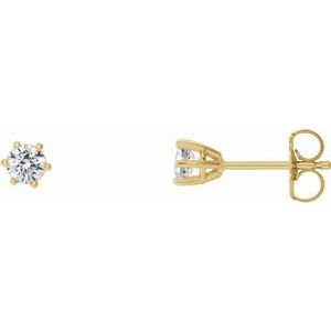 14K Yellow 3.4 mm SI2-SI3 1/3 CTW Diamond 6-Prong Wire Basket Earrings