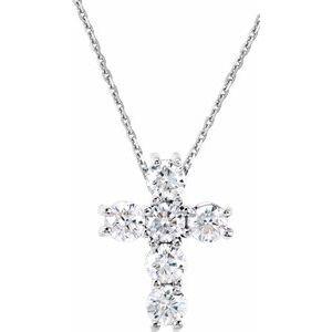 "14K White 1/4 CTW Diamond Cross 18"" Necklace"