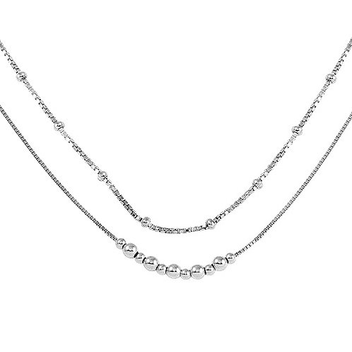 925 Rhodium Plated Double Chain Bead Necklace