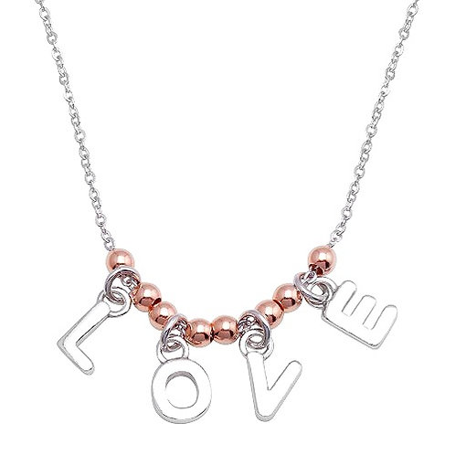 """925 Rhodium and Rose Gold Plated """"Love"""" Necklace"""