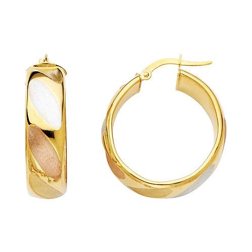 14K Yellow 8mm Hollow Hoop Earrings
