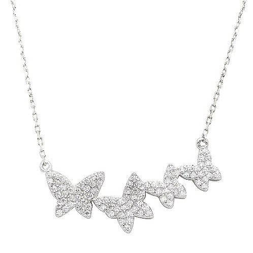 925 Rhodium Plated Graduated CZ Encrusted Butterfly Necklace