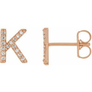 14K Rose .06 CTW Diamond Single Initial K Earring