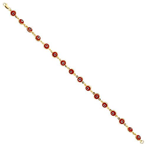 14KY Red Evil Eye Bracelet