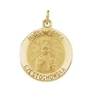 14K Yellow 15 mm Round Matka Boska Medal