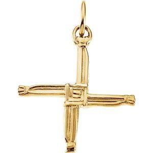 14K Yellow 20x20 mm St. Bridget's Cross Pendant
