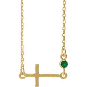 "14K Yellow Emerald Sideways Cross 16-18"" Necklace"