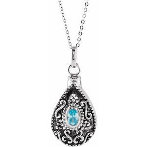 """Sterling Silver 6x4 mm Pear March Ash Holder Birthstone 18"""" Necklace"""