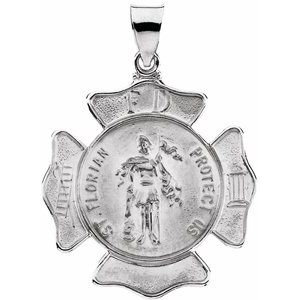 14K White 25 mm Hollow St. Florian Medal