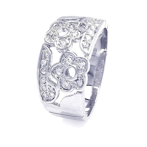 925 Rhodium Plated Pave Clear CZ Flower Ring