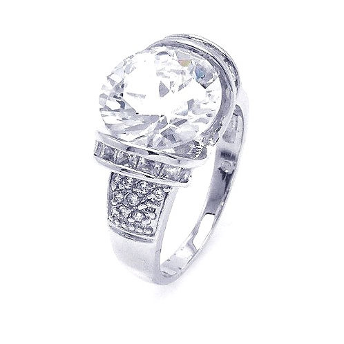 925 Rhodium Plated Clear Baguette Pave Set Round Center CZ Bridal Ring