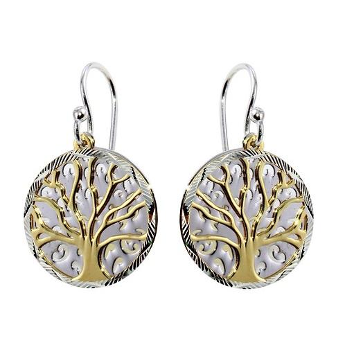 Two-Toned Tree Earrings