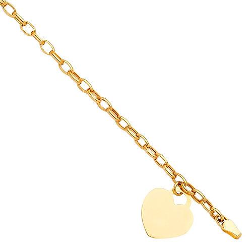 14KY Heart Pendant Hollow Bracelet