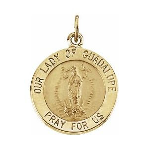 14K Yellow 15 mm Round Our Lady of Guadalupe Medal