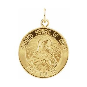 14K Yellow 15 mm Sacred Heart of Mary Medal