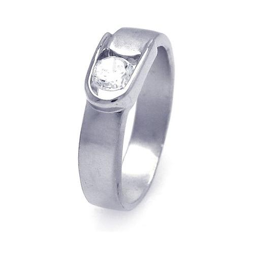 925 Rhodium Plated CZ Belt Buckle Ring