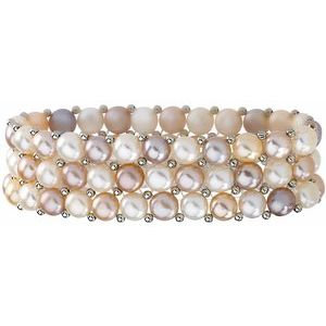 Silver Freshwater Cultured Natural Multi-Colored Pearl 3 Row Bracelet