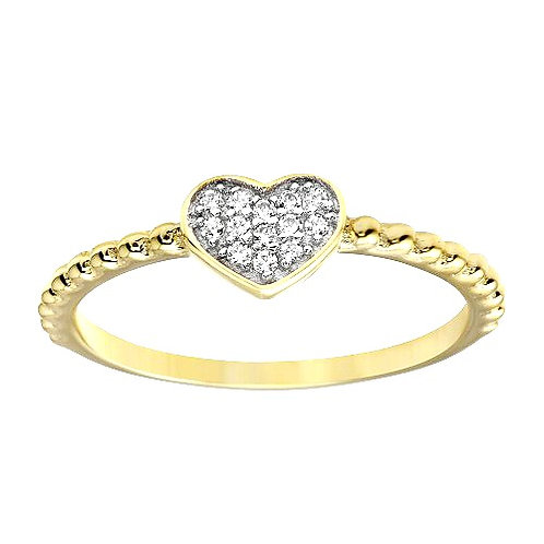925 Gold Plated Small Heart Ring with CZ