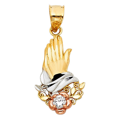 14K 3C CZ PRAYING HANDS PENDANT