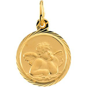 14K Yellow 12 mm Angel Pendant