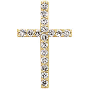 14K Yellow 1/6 CTW Petite Diamond Cross Pendant