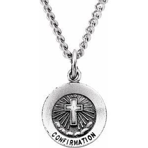 "Sterling Silver 12 mm Confirmation Medal with Cross 18"" Necklace"