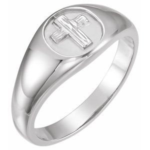 Sterling Silver The Rugged Cross® Chastity Ring Size 11