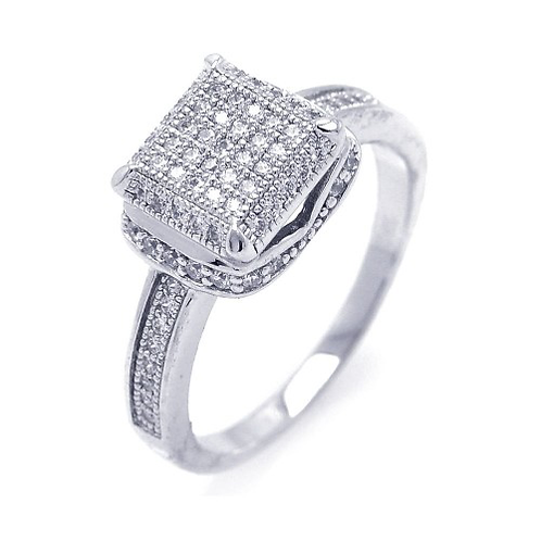 925 Rhodium Plated Micro Pave CZ Square Ring