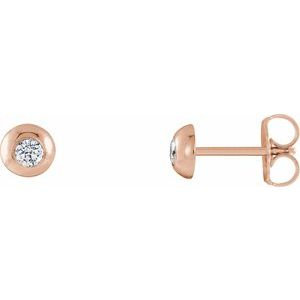14K Rose 1/8 CTW Diamond Domed Stud Earrings