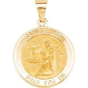 14K Yellow 18 mm Round Hollow St. Luke Medal
