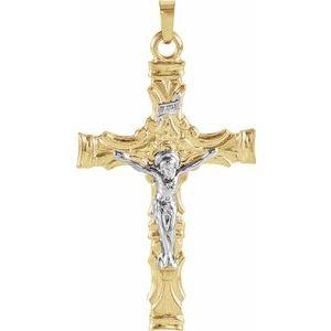 14K Yellow & White 36x24 mm Crucifix Pendant