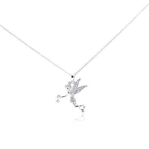 Fairy Cubic Zirconia Sterling Silver Pendant Necklace