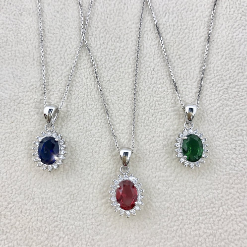 Oval Color Cubic Zirconia Sterling Silver Necklace