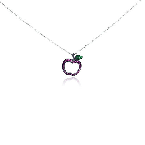 Pink Cubic Zirconia Sterling Silver Rhodium Plated Apple Pendant Necklace