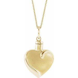 "10K Yellow Heart Ash Holder 18"" Necklace"